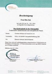 Zertifikat Kiefergelenkbehandlung